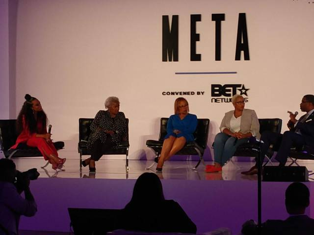 (L - R) Angela Rye, Donna Brazile, Judith Browne Dianis, Stafanie Brown James, and Derrick Johnson BET META EVENT